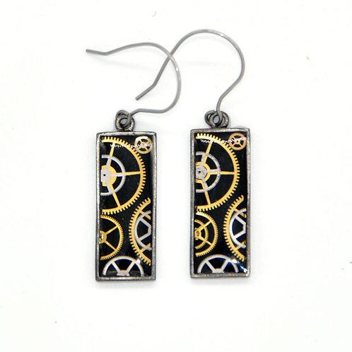 Rectangular Silver Earrings