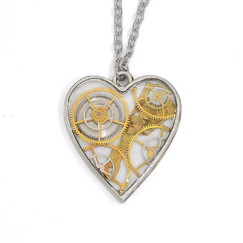 Transparent Heart Silver Necklace