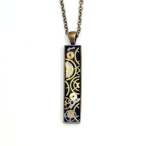 Skinny Rectangle Brass Necklace