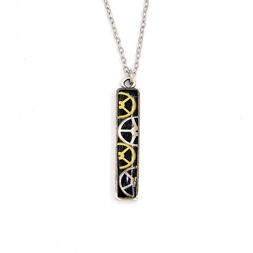 Vertical Bar Silver Necklace