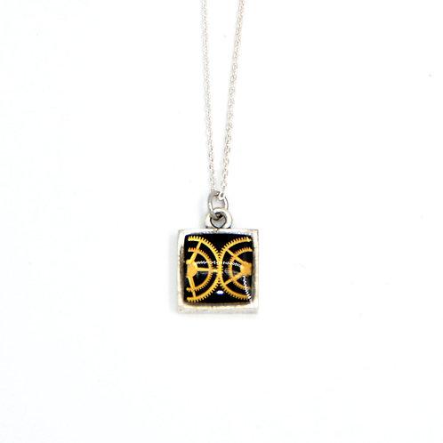 Small Square Silver Necklace