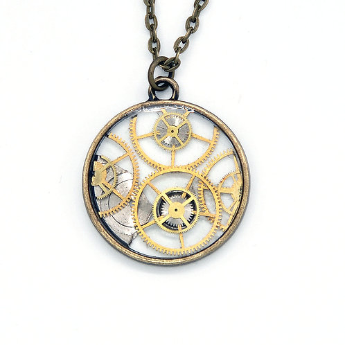 Transparent Circle Brass Necklace
