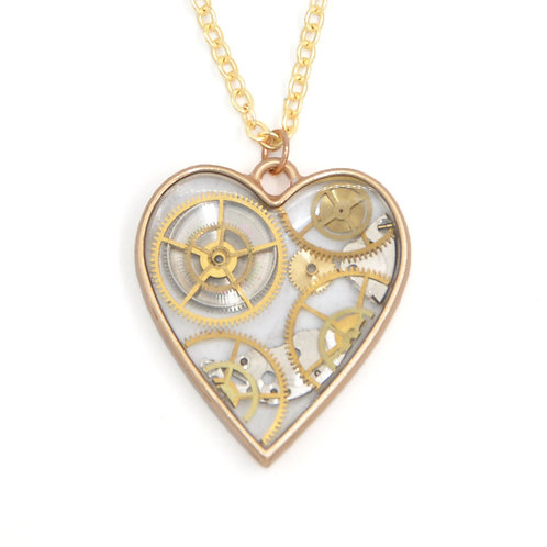 Transparent Heart Gold Necklace