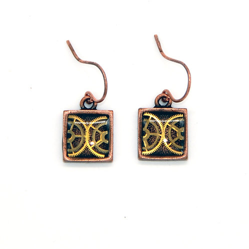 Small Square Copper Earrings