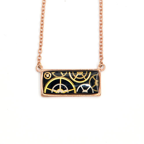 Horizontal Rectangle Rose Gold Necklace