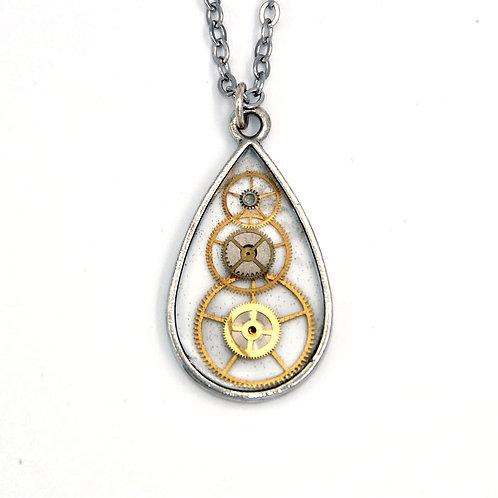 Transparent Teardrop Silver Necklace