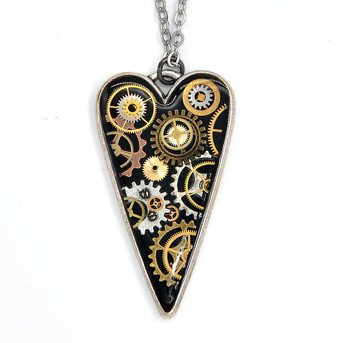 Large Heart Silver Necklace