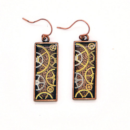 Rectangular Copper Earrings