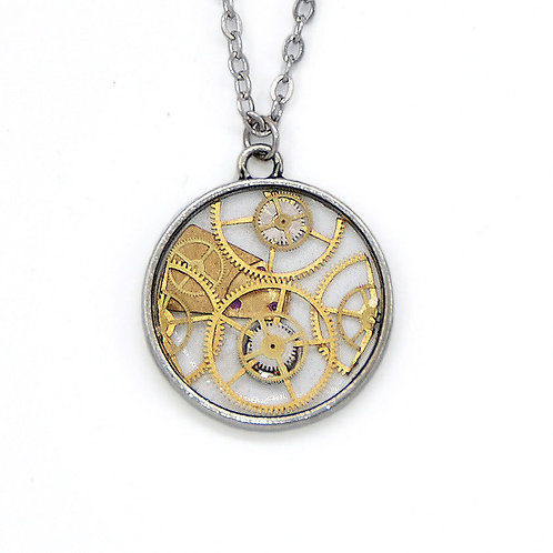 Transparent Circle Silver Necklace