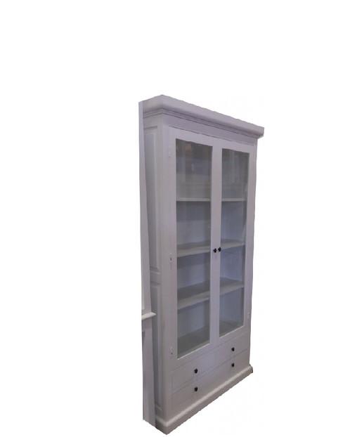 Landelijke witte vitrine kast boekenkast Giorgio 4 laden en 2 glazen ...