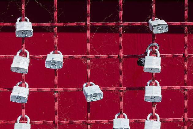 Цифровая безопасность: На фото изображена решетка с 11 замками