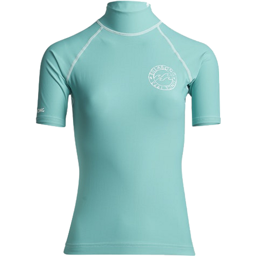 Billabong Logo in SS Ladies Rash Vest Seafoam