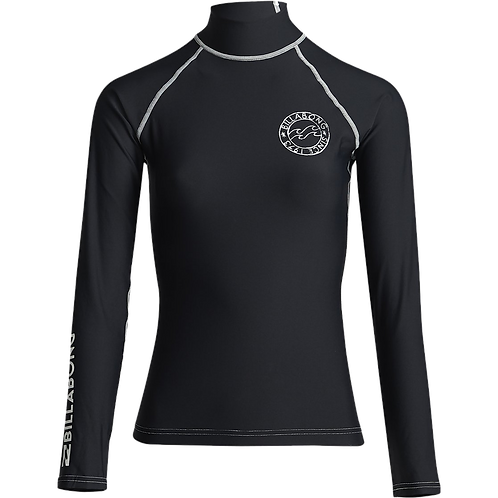 Billabong Logo in LS Ladies Rash Vest Black Pebble
