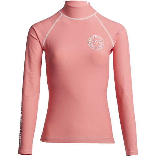 Billabong Logo in LS Ladies Rash Vest Coral Kiss