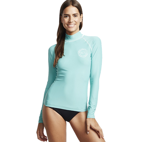 Billabong Logo in LS Ladies Rash Vest Seafoam
