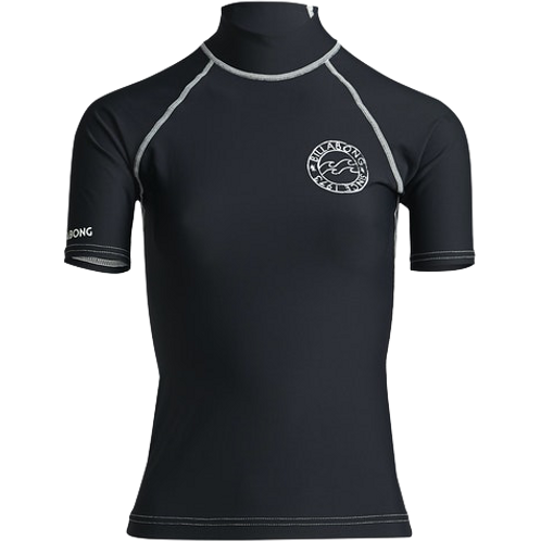 Billabong Logo in SS Ladies Rash Vest Black Pebble