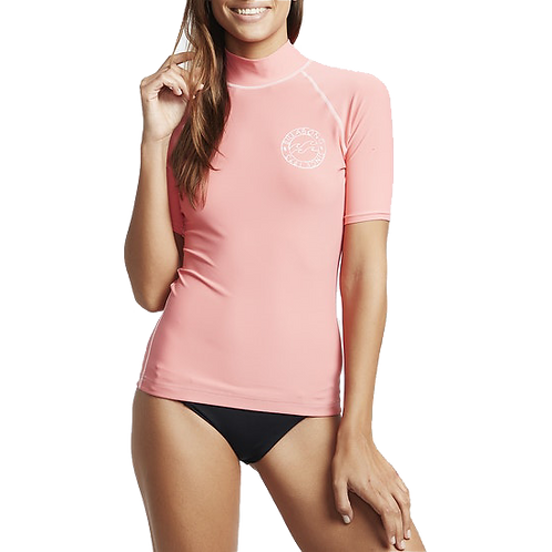 Billabong Logo in SS Ladies Rash Vest Coral Kiss