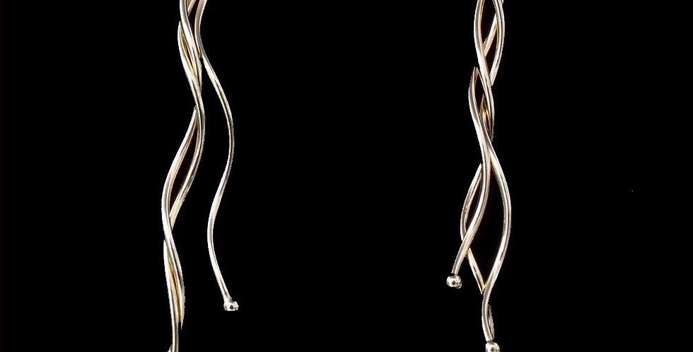 14K Abstract Dangle Style Pierced Earrings