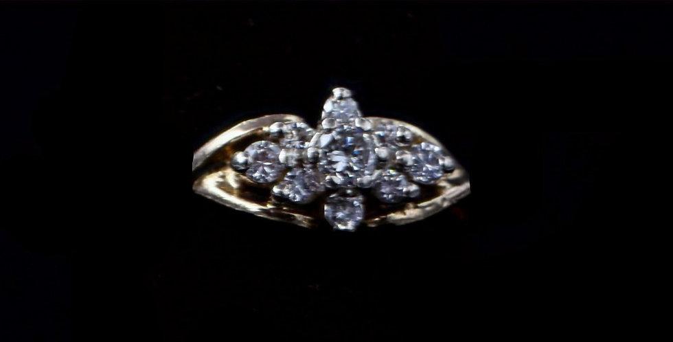 14K Yellow Gold .25 Carat Total Weight Vintage Diamond Ring
