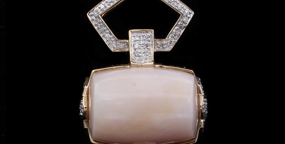 14k Coral .30 ct Diamond Pendant