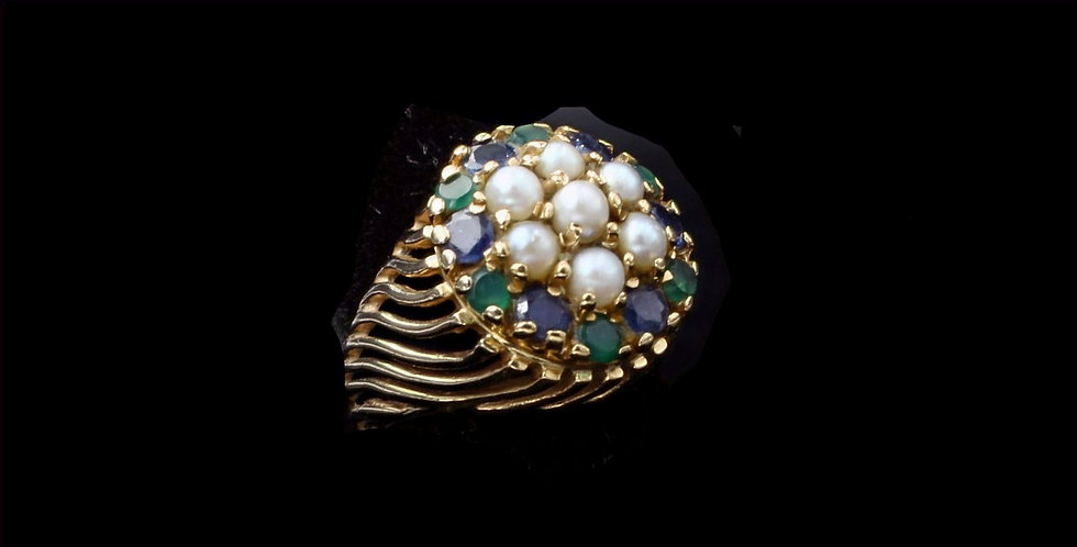 14K Pearl, Sapphire and Emerald Ring
