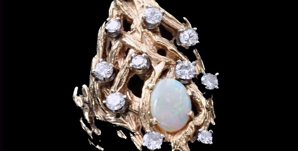 14k Yellow Gold Vintage Cast Opal and Diamond Ring