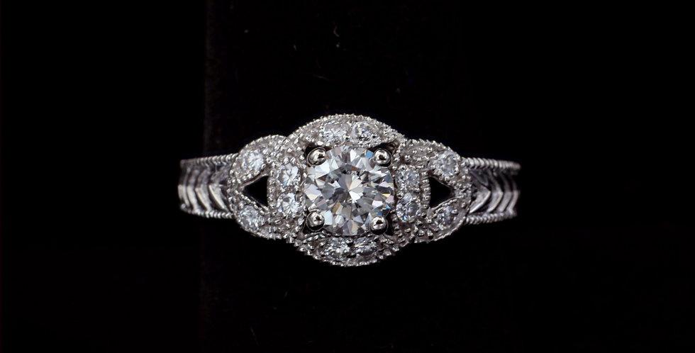 Platinum .63 & .24 ct. Diamond Ring