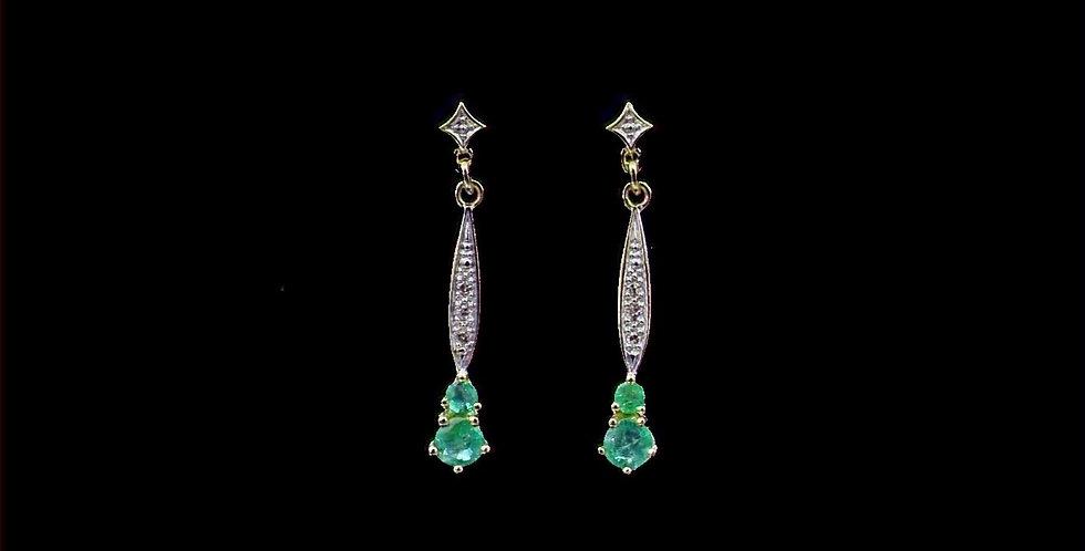 14K Vintage Emerald & Diamond Earrings