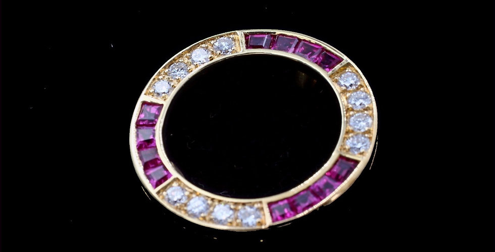 18K Ruby and Diamond Brooch