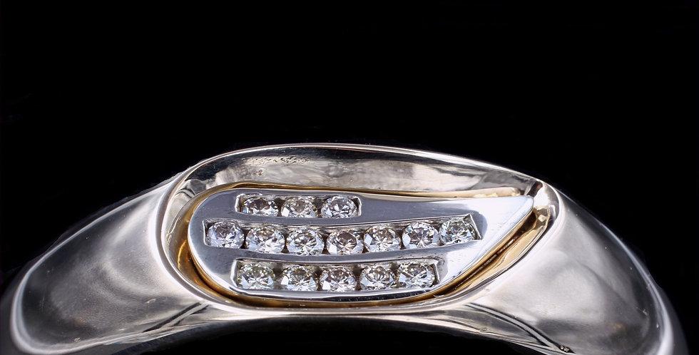18K 2.00 Carat Total Weight Custom Diamond Bangle Bracelet