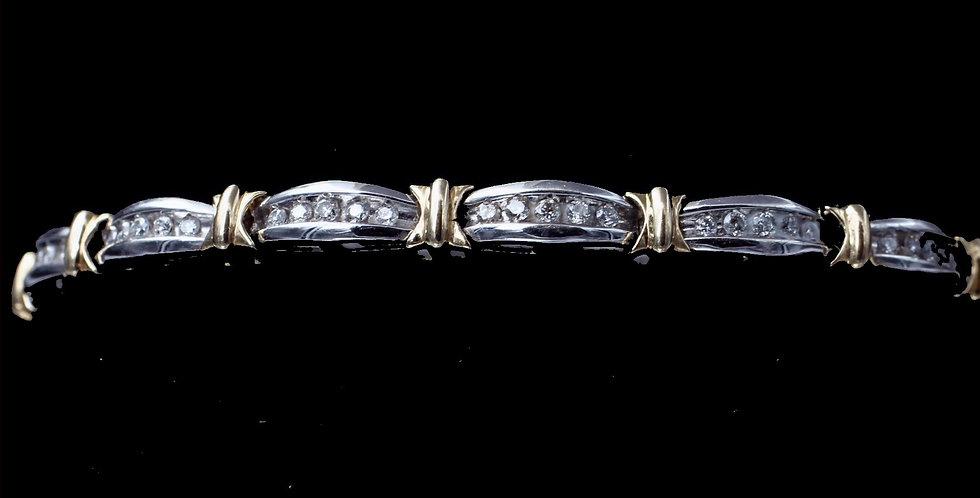 10K Yellow & White Gold 1.00 Carat Diamond Bracelet