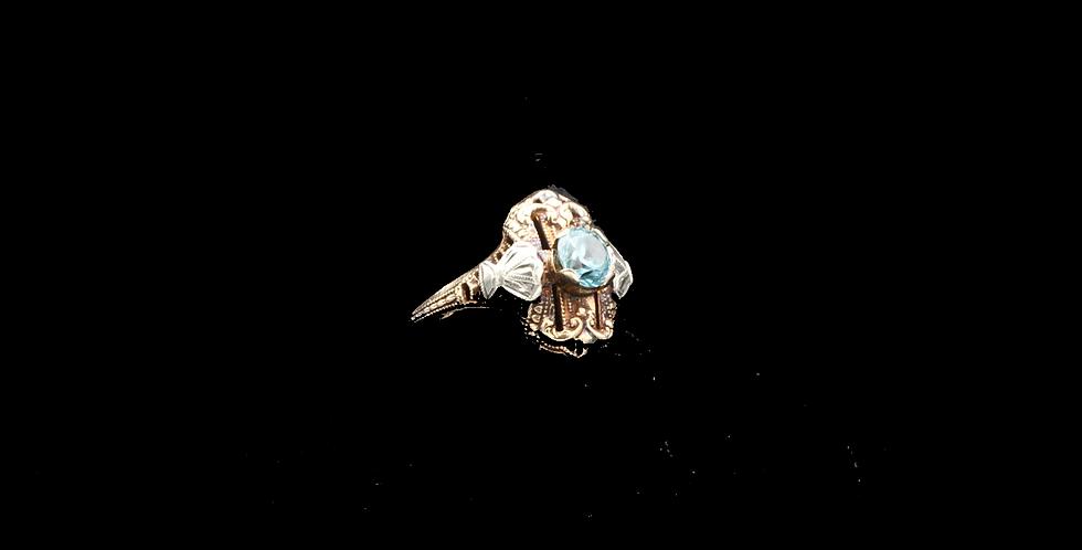 10K Vintage Blue Zircon Ring