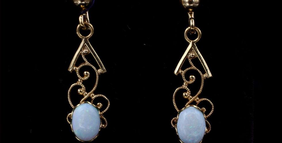 14k Drop Filigree Opal Earrings