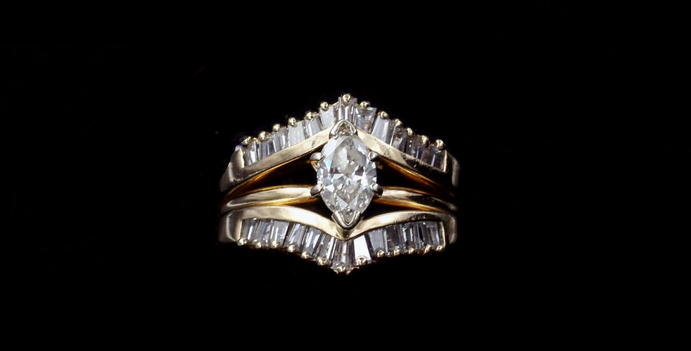 14K 1.00ct Marquise & 1.00ct Side Diamond Ring Set