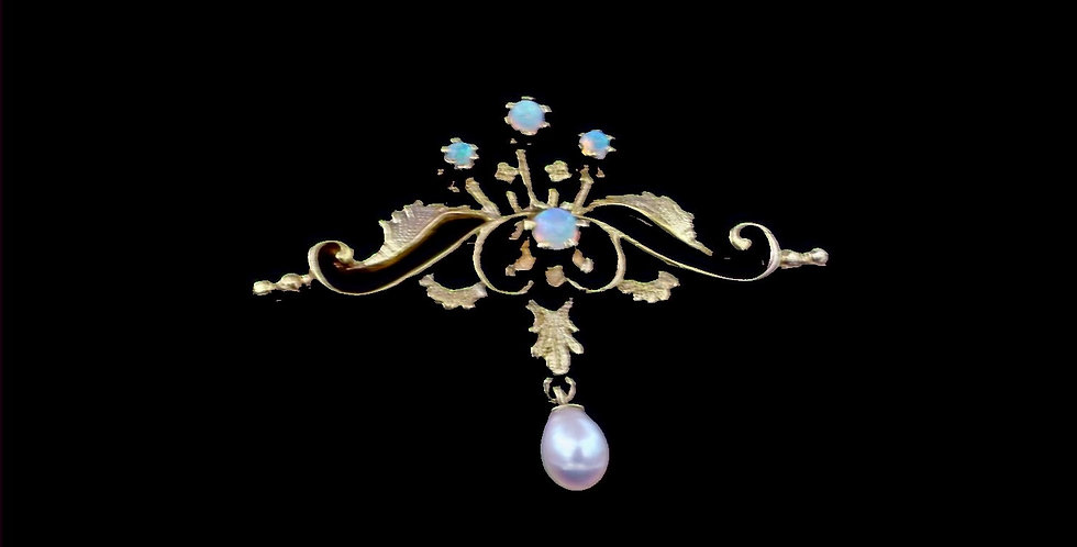 14K Vintage Festoon Style Opal Brooch