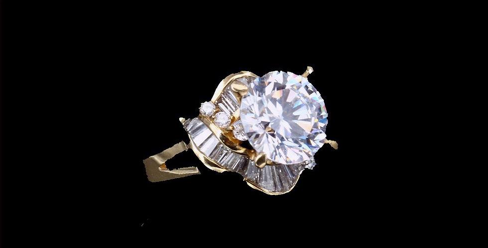 18K Cubic Zirconia Center & .50 carat Diamond Ring
