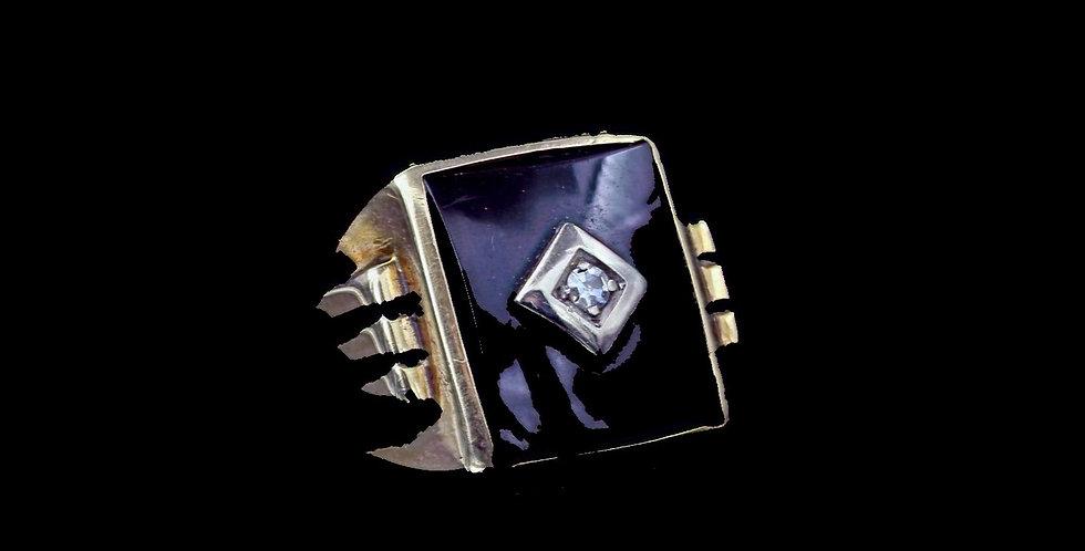 14K Onyx & Diamond Vintage Ring