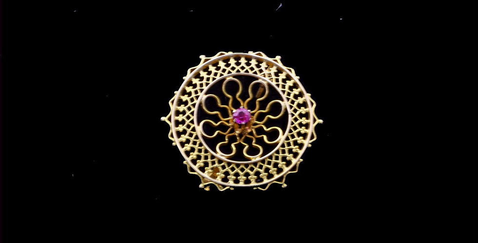 10K Synthetic Ruby Filigree Brooch
