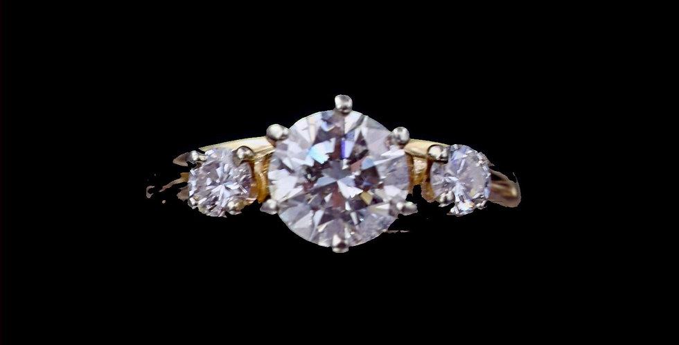 14K Yellow Gold 1.05 & .15 Carat Diamond Ring