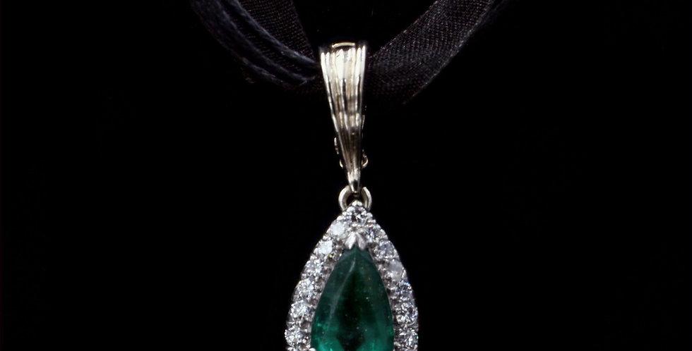 Platinum 3.11 Carat Emerald & Diamond Pendant