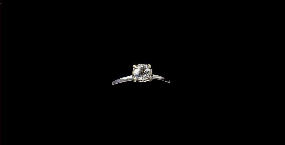 14K White Gold .50 Carat Old Mine Cut Diamond Ring
