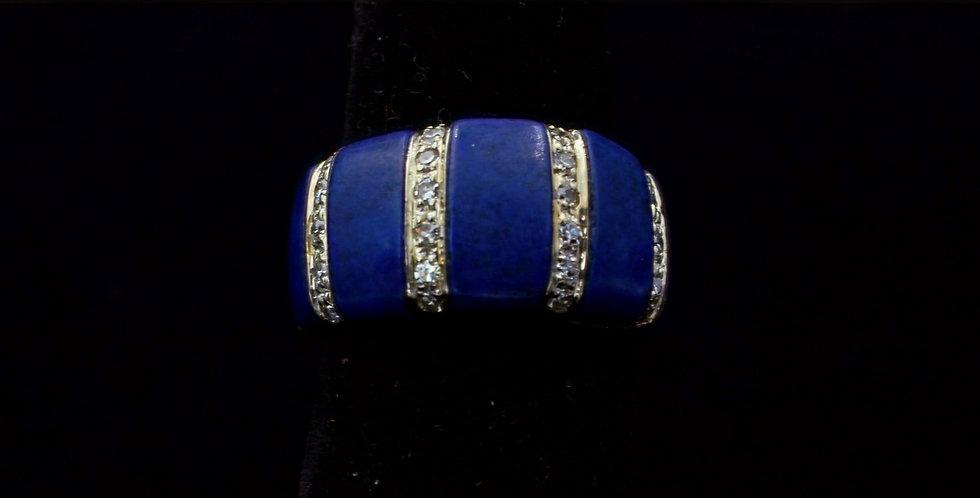 18K Lapis and Diamond Band Ring