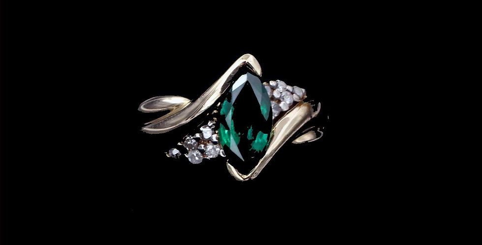14K Yellow Gold Synthetic Emerald & Cubic Zirconia Ring