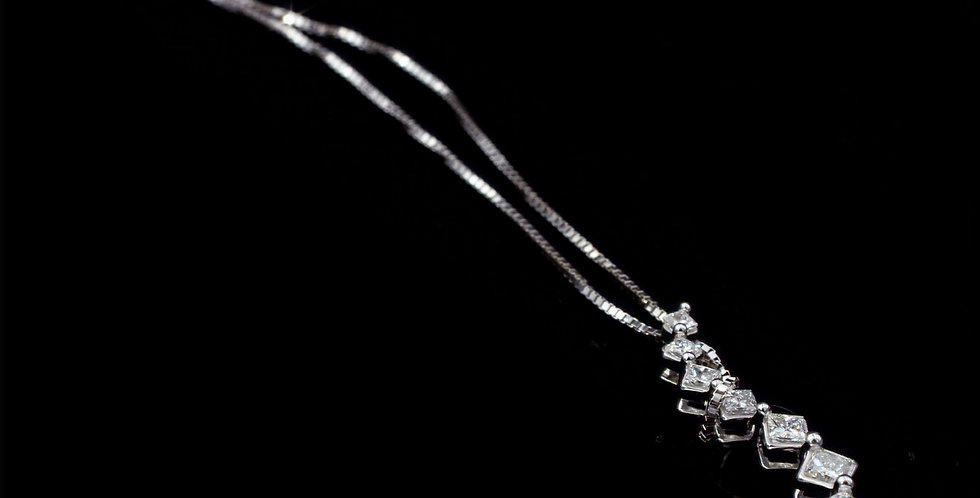 14K White Gold .75 Carat Total Weight Princess Diamond Necklace