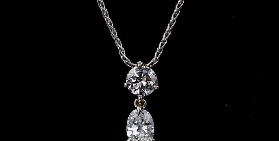 14K wg .50 & .60ct. Diamond Necklace
