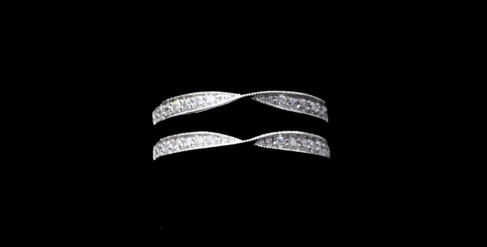 14K White Gold Diamond Jacket Style Ring/Guard
