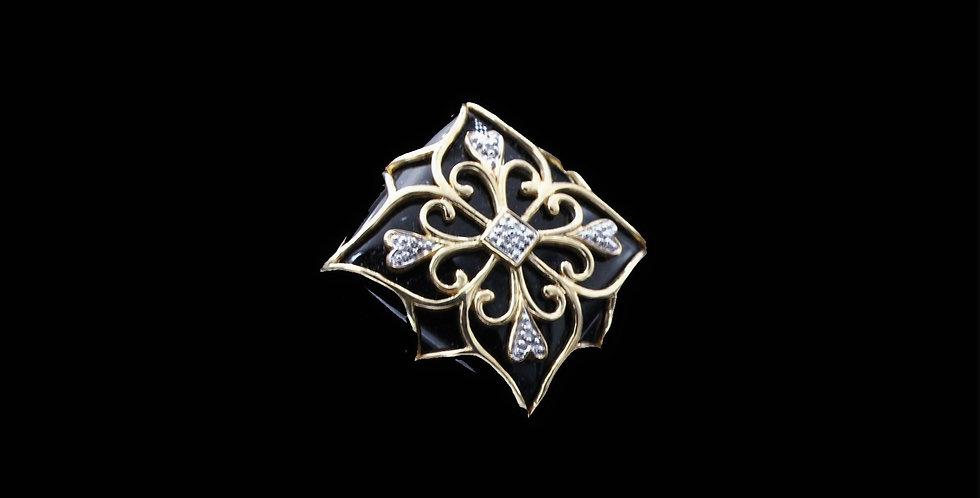14K Italian Made Onyx and Diamond Ring