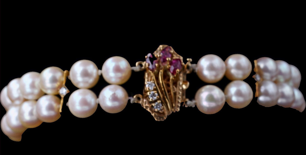 14K Vintage Pearl Bracelet with a Ruby & Diamond Clasp