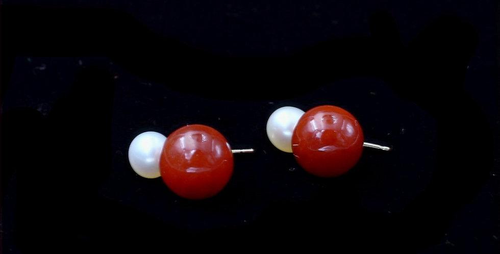 14K Drop Pearl and Carnelian Earrings