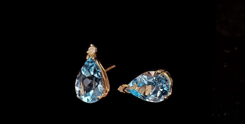 14K Blue Topaz & Diamond Earrings